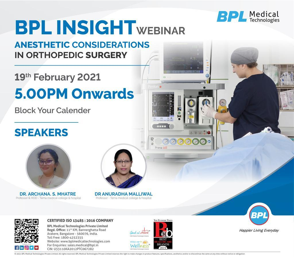 Anesthetic Considerations in Orthopedic Surgery: A Live Webinar Session By BPL Medical Technologies